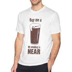メンズ Tシャツ 半袖 無地 上質ブラウン ビール Buy Me A Beer 地味 カットソー インナー 丸襟 薄手 カジュアル カッコウイイ 汗染み防止 伸縮性 通気