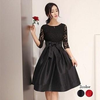 パーティドレス 結婚式ドレス 結婚式二次會 お呼ばれ ワンピース ワンピドレス 20代 30代 40代 黒 袖あり