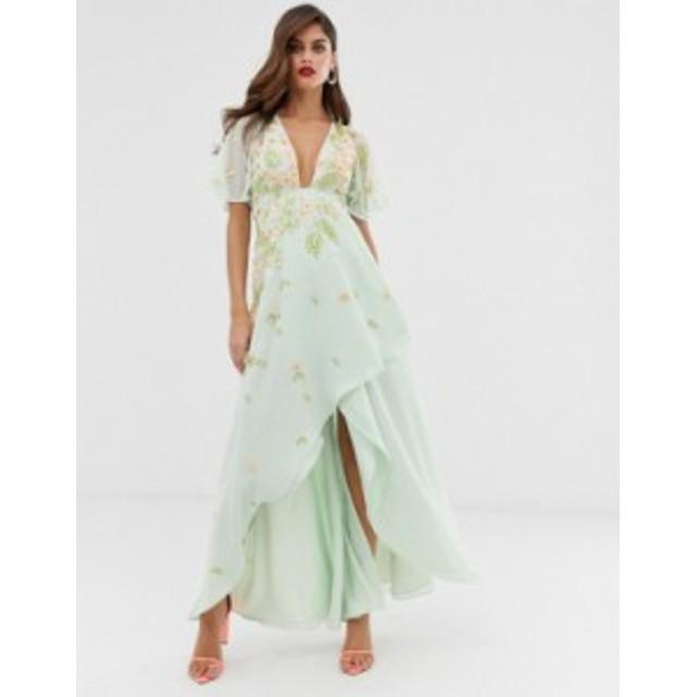 エイソス レディース ワンピース トップス ASOS DESIGN dipped hem maxi dress with 3D embellishment and ruffle sleeve Mint