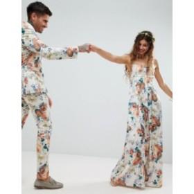 エイソス レディース ワンピース トップス ASOS DESIGN square neck cami strap maxi dress in pretty floral print Multi