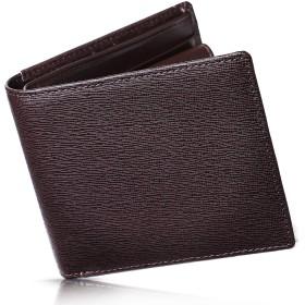 Kohdou 財布 メンズ 二つ折り カード15枚収納 本革 (07.ブラウン×ブラウン)