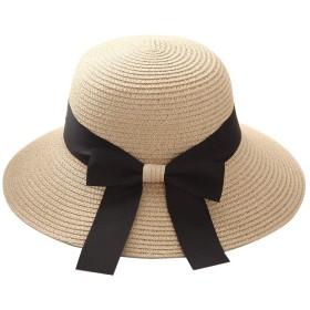 nijuh 麦わら帽子 むぎわら 折り畳み つば広 サイズ調整 紐 リボン UVカット 白 ベージュ ブラウン 黒 茶 レディース (ホワイト)