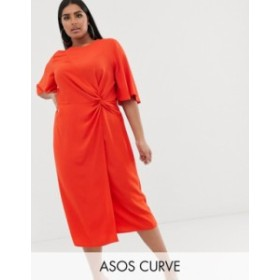 エイソス レディース ワンピース トップス ASOS DESIGN Curve twist front midi dress with angel sleeve Orange pop