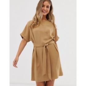 ニュールック レディース ワンピース トップス New look belted tunic in camel Camel