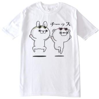 (アルージェ) ARUGE ヨッシースタンプ YOSISTAMP うさぎ くま ひよこ ねこさま 半袖 Tシャツ メンズ / A5R / M L柄86-09ホワイト