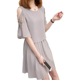 Hongli ワンピース レディース 夏 秋 パーティー ドレス シフォン 無地 肩みせ きれいめ スカート Aライン 体型カバー 着痩せ 服