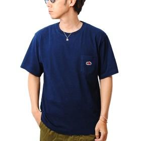 フルーツオブザルーム [FRUIT OF THE LOOM] インディゴ染め ポケット付き ワッペン Tシャツ メンズ (M, インディゴ)