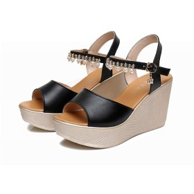 [Date U] ウェッジヒールサンダル ファッションサンダル 小さいサイズ 夏靴 オープントゥ パール プラットフォーム 安定感 歩きやすい 身長アップ 調節可能 8cmハイヒール Sフック 防滑 滑り止め 女性用 黒色 ホワイト 21cm