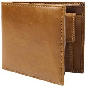 二つ折り 財布 本革 大容量 カード 11枚収納 二つ折り財布 新設計のボックス型小銭入れ メンズ (ブラウン)