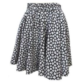 【中古】ミューズ ドゥーズィエムクラス MUSE de Deuxieme Classe スカート ミニ フレア 花柄 ウエストゴム 黒 白 ブラック ホワイト IBS24 X レディース