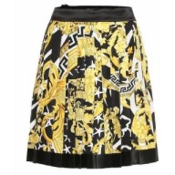 ヴェルサーチ Versace レディース ミニスカート スカート Baroque pleated silk miniskirt Gold/Print