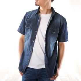 (ナイラス) NYLAUS 半袖シャツ メンズ デニムシャツ ウエスタンシャツ ワークシャツ カジュアルシャツ トップス 春 夏 ウォッシュ加工 ユーズド加工 ダメージ 厚手