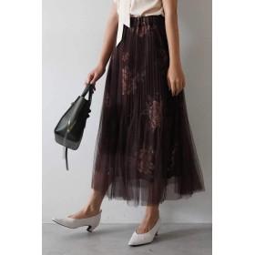 【公式/フリーズマート】消しプリーツチュール重ね花柄スカート/女性/スカート/ブラウン×BEフラワー/サイズ:FR/(外側)ポリエステル 100%(内側)ポリエステル 100%