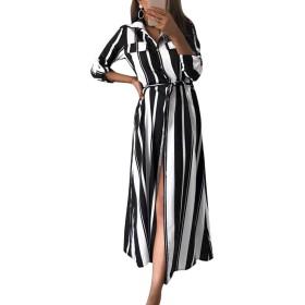 女性カジュアルドレスストライプボタンダウンスリットフロントマキシシャツドレス Black M