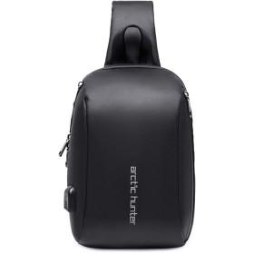 ボディバッグ メンズ ワンショルダーバッグ 斜め掛けバッグボディーバッグ 保冷 防水 USBポート付き iPad収納 大容量 多機能 通勤 通学 ブラック