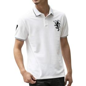 (ロンドンデニム) London Denim メンズ ポロシャツ WEB限定 London Denim オリジナル ライオン 刺繍入り 鹿の子 半袖 ポロシャツ LD-PL-035 M ホワイト