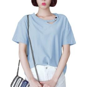 [美しいです] レディース 春 夏 ブラウス 綿麻 半袖 無地 シースルー フォーマル 透かし彫り (ブルー, XL)