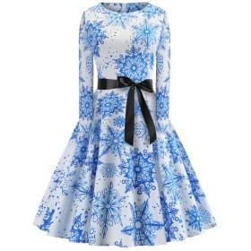 レディース レトロ ワンピース ドレス 1950' 花柄 Aライン クリスマス エルク スノーフレーク Blue XXL