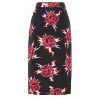 プラダ Prada レディース ひざ丈スカート スカート Printed cotton-poplin skirt Lacca