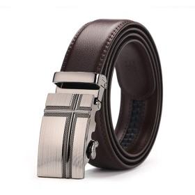 SHIAWASENA メンズ ベルト 本革 ビジネス オートロック式 穴なし サイズ調整可能 ギフトボックス付き プレゼント (4#)