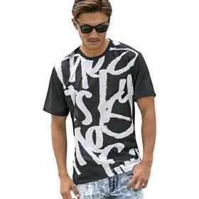 (エーエスエム) A.S.M メンズ Tシャツ 半袖 総柄プリント ロング丈Tシャツ 02-66-9059 50(L) ブラック(00)