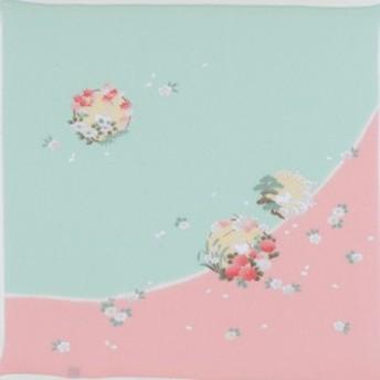 二巾7号友禅 花の丸にうさぎピンク