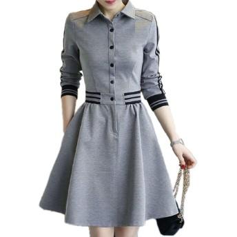 [ルナー ベリー] ポロシャツ ワンピース 長袖 フレア スカート 襟付 カジュアル レディース 3601 (M, グレー) キャンパス シンプル きれいめ 大きいサイズ ゆったり ボタン オルチャン 3601 (M, グレー)