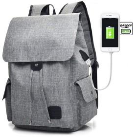 ファッション旅行レジャーバックパック、USB充電バックパックキャンバスアウトドア防水バックパック大容量コンピュータバッグ付き旅行バックパック (色 : グレイ ぐれい)