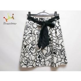 トゥービーシック TO BE CHIC スカート サイズ36 S レディース 美品 白×黒 花柄/リボン取外し可  値下げ 20191014
