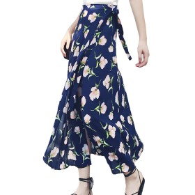 TAOHUA 夏 スカート 一面式 半身スカート 花柄 ストラップスカート シフォン スカート セクシー (ピンク花)