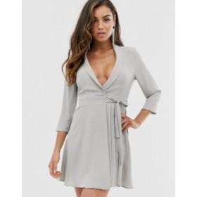 エイソス レディース ワンピース トップス ASOS DESIGN pleated wrap mini dress Grey