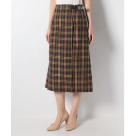 (allureville/アルアバイル)ダークチェックラップスカート/レディース ブラウン