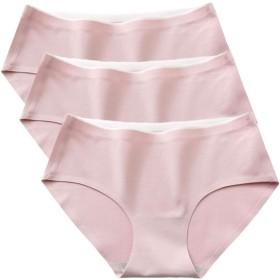 [アクアミー] シームレス コットン ショーツ 3枚セット ひびかない 無縫製 下着 綿 レディース 響かない 薄い 伸縮性 通気性 コットン レギュラー ショーツ ひびきにくい パンティ (ベビーピンク Lサイズ)