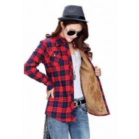 EASONDDD 20色 チェックシャツ ボア付き レディース トップス 綿シャツ 暖かい 裏ボア 裏起毛 長袖シャツ ブルゾン チェック柄 ネルシャツ ボタンアップ おしゃれ カジュアル きれいめ