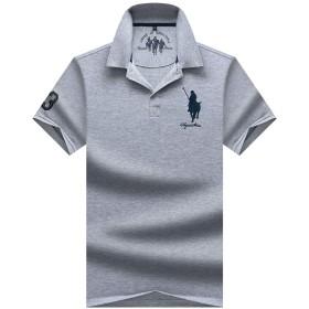 ポロシャツ 半袖 メンズ 刺繍 無地 UVカット 五色 M~3XL グレー XL