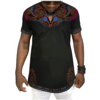 AngelSpace 男性Dashiki半袖プラスサイズアフリカプリントTシャツトップス 4 S