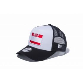 【ニューエラ公式】キッズ 9FORTY A-Frame トラッカー ハローマイネームイズ ホワイト ブラックメッシュ 男の子 女の子 52 - 55.8cm キャップ 帽子 12108329 NEW ERA