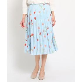SunaUna(スーナウーナ) 【洗える】サテン ワイルドフラワープリーツスカート