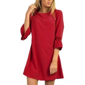 BAO8 ドレス 無地ワンピース 7分袖ドレス ひざ丈スカート ミニスカート 可愛い 素敵 春着 夏物 普段着 (XL, レッド)