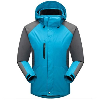アウトドアジャケット メンズ コート+インナー 2着セット 3in1 マウンテンジャケット スキーウェア フード取り出し可能 登山服 ゴルフ 防寒冬着 通勤 キャンプ (シアン, XS)