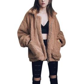 Wodery もこもこコート レディース ふわふわ プードル ボアコート アウター 秋 冬 ボアブルゾン ジャンパー ポケット付き 防寒 カジュアル ストリート 大きいサイズ対応 長袖 ジャケット ファッション 暖かい