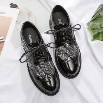 おじ靴 オックスフォードシューズ エナメル レディース パテント ツイード ウイングチップ ローヒールトラッド靴 マニッシュ i