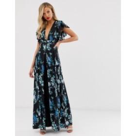 エイソス レディース ワンピース トップス ASOS DESIGN maxi dress with godet lace inserts in black based floral print Black based f