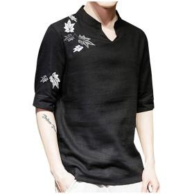 Aster JaKi メンズ チャイナ シャツ 春夏 おしゃれ 刺繍 中国風 トップス 半袖 ゆったり 大きいサイズ リネン 吸汗通気 スウェット カットソー