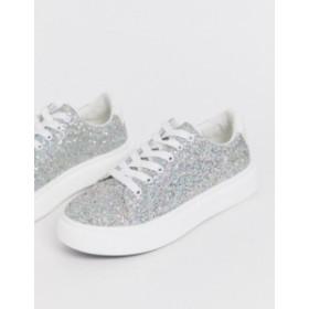 エイソス レディース スニーカー シューズ ASOS DESIGN Doro chunky lace up sneakers in glitter Glitter
