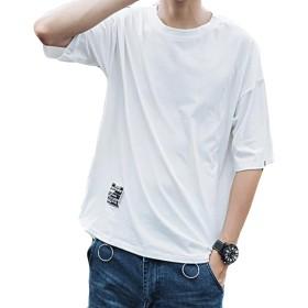 (ニカ)トップス メンズ シャツ 夏 半袖 シャツ ゆったり アウター 無地 シャツ おしゃれ トップス セットの頭 薄手 tシャツ 7分丈 BF風 カジュアル スウェット プルオーバー おしゃれ 半袖 シンプル 半袖シャツ ホワイトT1