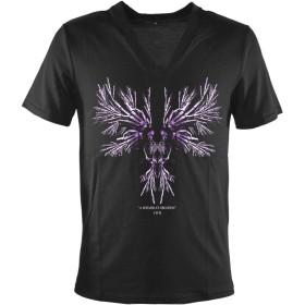 Tシャツ 髑髏スカル ウィングプリント VネックTシャツ 半袖 ブラック黒 zkh195 M
