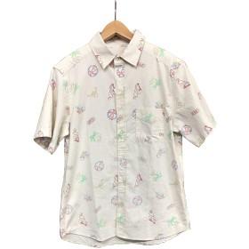 ネオン柄半袖RG トレンド 半袖 カジュアルシャツ (OFF, L)