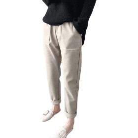 DeBangNi レディース ラシャパンツ ロングパンツ 秋冬 厚手 防寒 ハロンパンツ 無地 通勤 オフィス OL風 カジュアルパンツ ゆったり きれいめ フォーマル ボトムス ファッション ベージュN5