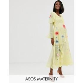 エイソス レディース ワンピース トップス ASOS DESIGN Maternity embroidered wrap maxi dress Yellow